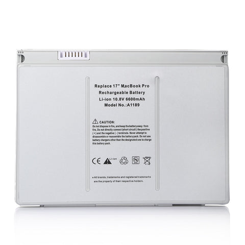 Apple A1189 / MA458 Li-Ion Replacement Battery for MacBook Pro 17 inch Notebooks