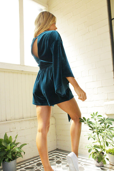 In A Dream Velvet Playsuit