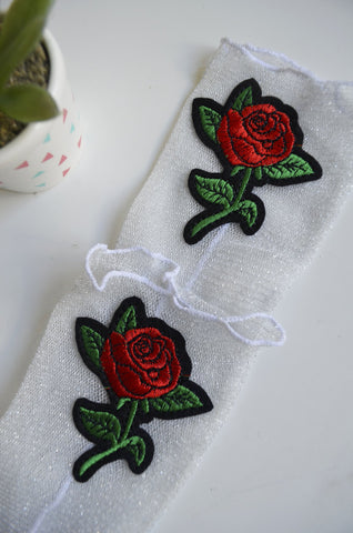 Rose Angel Socks - White Glitter