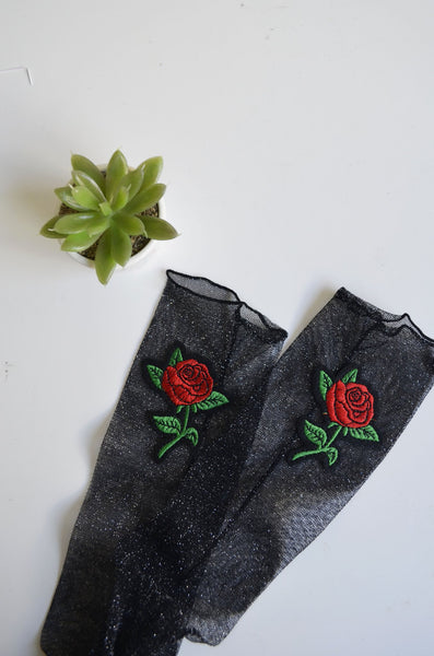 Rose Angel Socks - Black Glitter