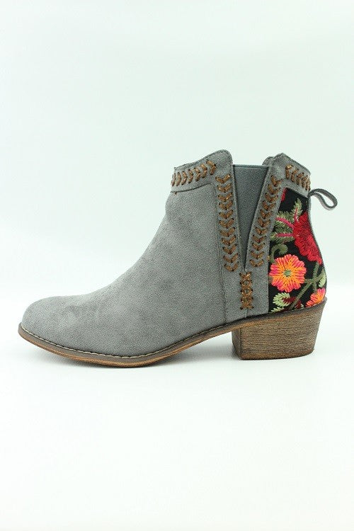 Floral Embroidered Bootie | Grey-[product_description]-[product_tag]-Stella B. Clothing