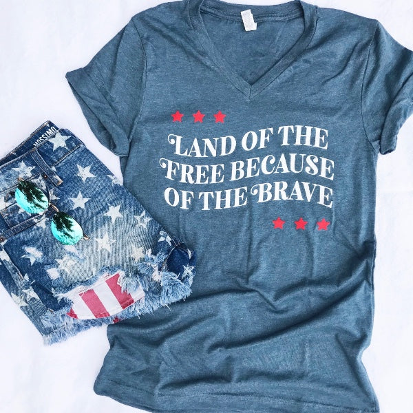 Land of the Free Because of the Brave Tee-[product_description]-[product_tag]-Stella B. Clothing