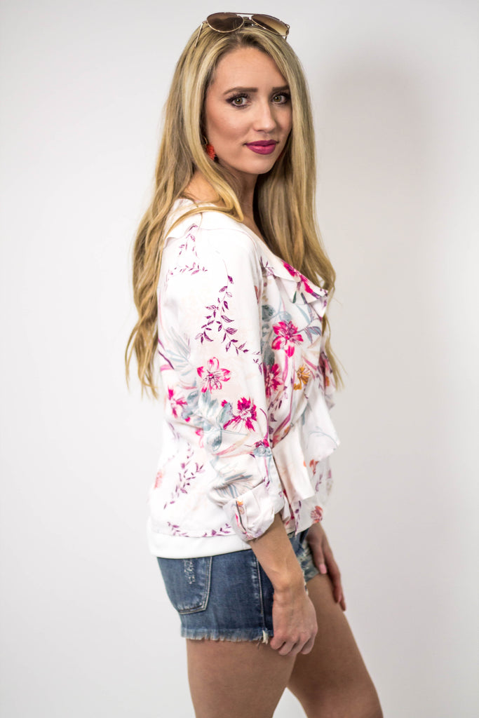 Floral Ruffle Wrap Top-[product_description]-[product_tag]-Stella B. Clothing