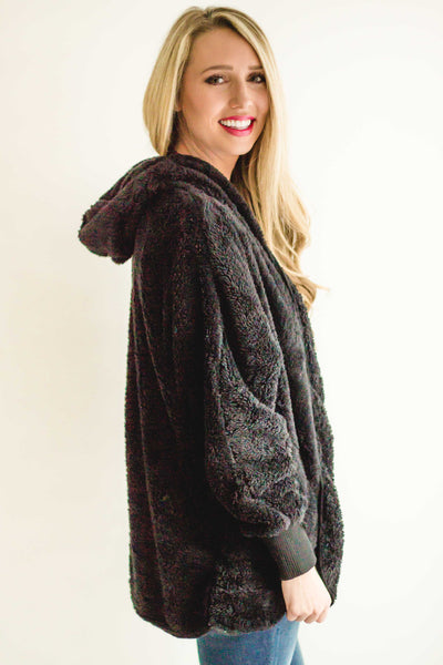 Snuggle Me Fuzzy Jacket | Black-[product_description]-[product_tag]-Stella B. Clothing