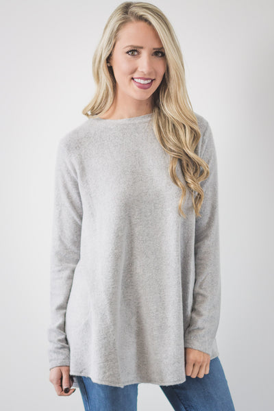 Grey Brushed Knit Tunic-[product_description]-[product_tag]-Stella B. Clothing