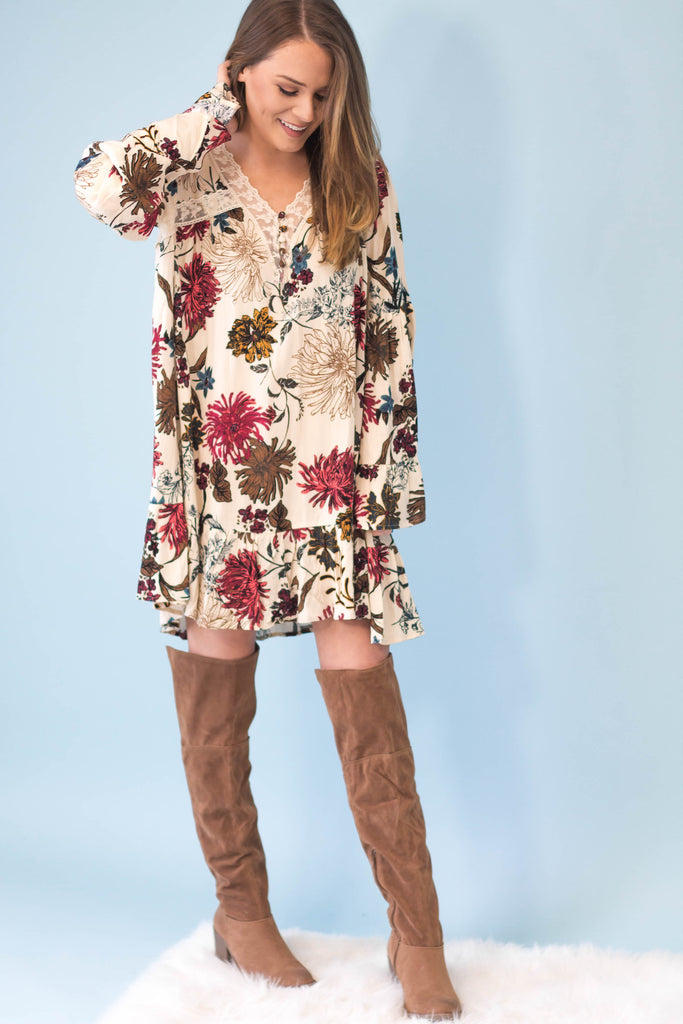 Mary Belle Floral Bell Sleeve Dress-[product_description]-[product_tag]-Stella B. Clothing