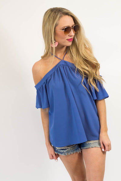 Ginger Y Neck Top - Blue-[product_description]-[product_tag]-Stella B. Clothing