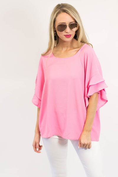 Lily Ruffle Sleeve Top | Pink-[product_description]-[product_tag]-Stella B. Clothing