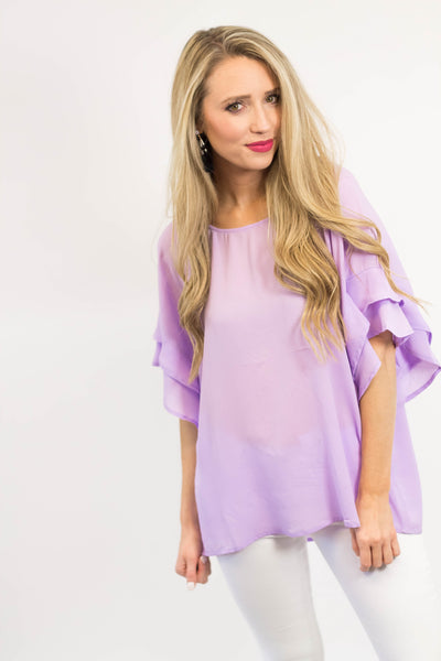 Lily Ruffle Sleeve Top | Lilac-[product_description]-[product_tag]-Stella B. Clothing