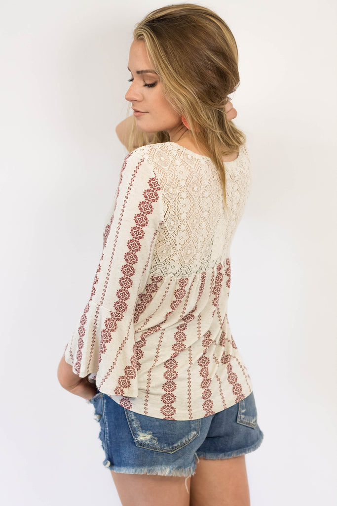 Lace Back Tribal Top-[product_description]-[product_tag]-Stella B. Clothing