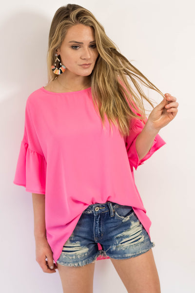 Vacation Mode Bell Sleeve Top- Pink-[product_description]-[product_tag]-Stella B. Clothing
