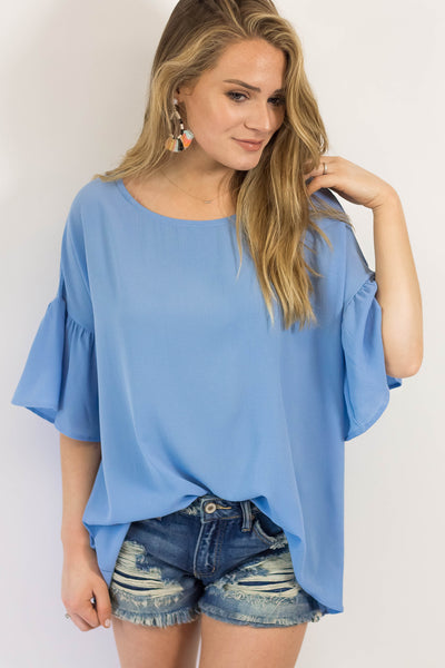 Vacation Mode Bell Sleeve Top- Sky Blue-[product_description]-[product_tag]-Stella B. Clothing