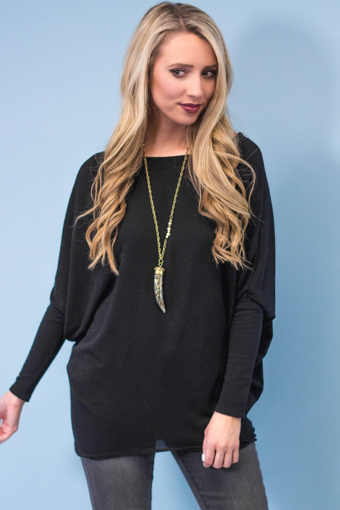 Dolman Tunic | Black-[product_description]-[product_tag]-Stella B. Clothing