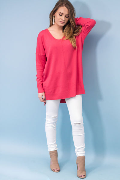 Dreamer Tunic Sweater | Coral-[product_description]-[product_tag]-Stella B. Clothing