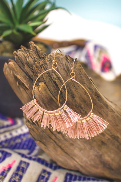 Fashionista Tassel Hoops | Blush-[product_description]-[product_tag]-Stella B. Clothing