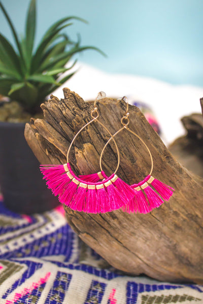 Fashionista Tassel Hoops | Pink-[product_description]-[product_tag]-Stella B. Clothing