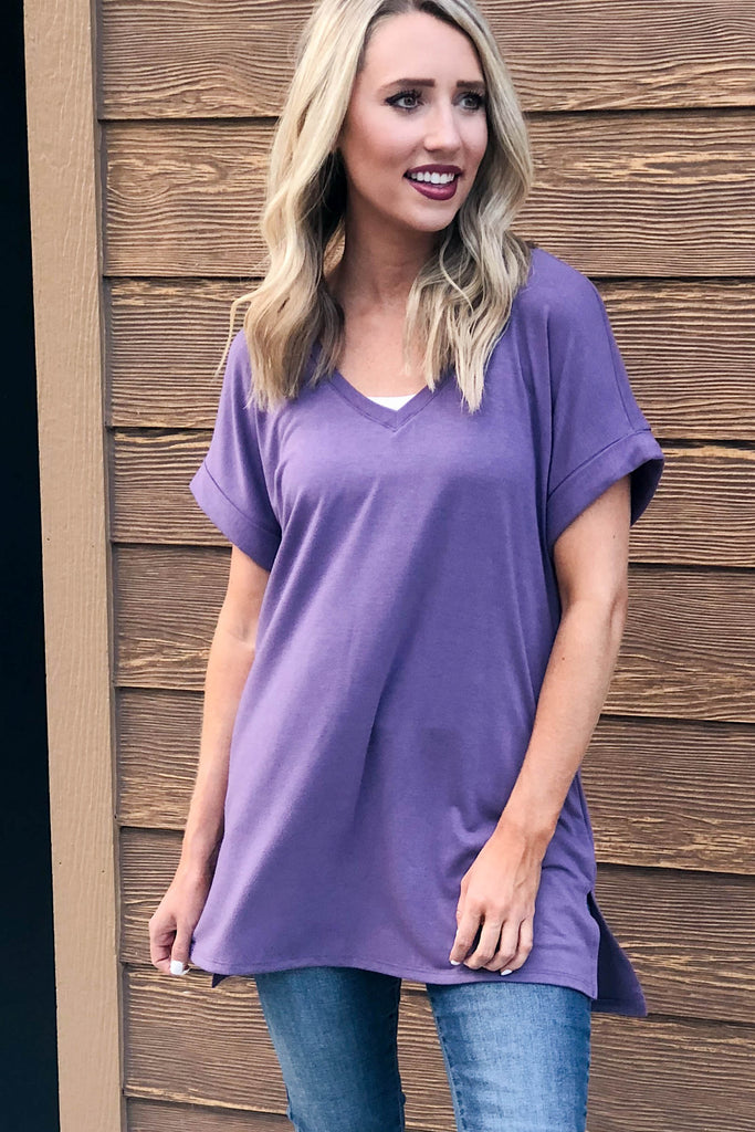 Rolled Sleeve Tunic | Lilac-[product_description]-[product_tag]-Stella B. Clothing
