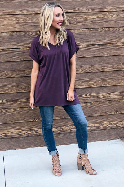 Rolled Sleeve Tunic | Eggplant-[product_description]-[product_tag]-Stella B. Clothing