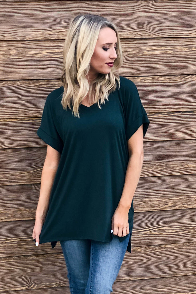 Rolled Sleeve Tunic | Hunter Green-[product_description]-[product_tag]-Stella B. Clothing