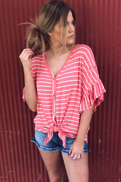 Fernwood Striped Knot Top | Coral-[product_description]-[product_tag]-Stella B. Clothing