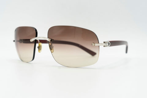 Cartier C Decor Vintage Sunglasses Plastic Brown Gradient Rectangle Lens Front 2