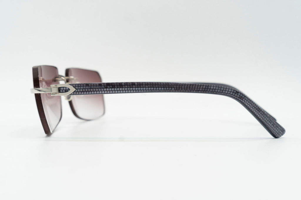 Cartier C Decor Vintage Sunglasses Purple Rimless Vintage Julz Left Temple