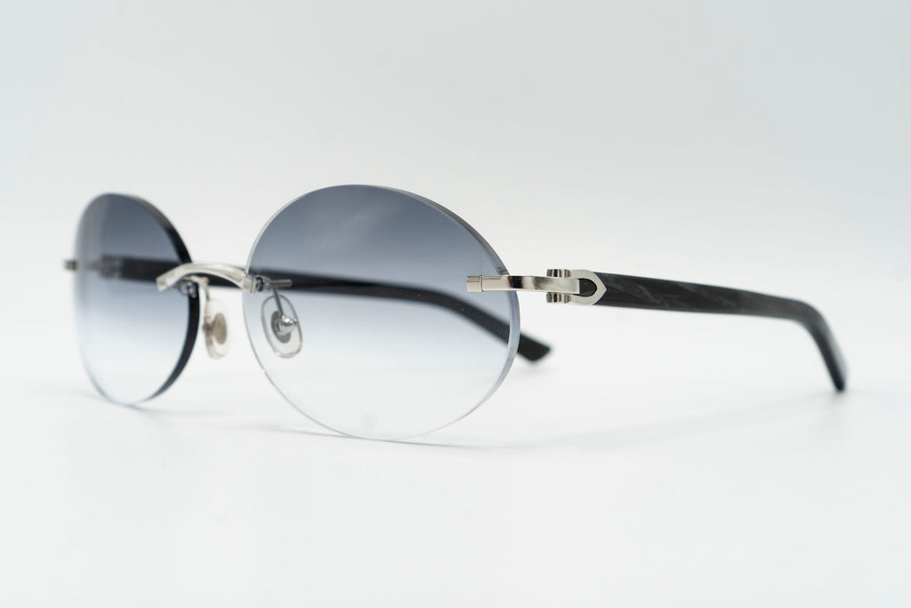 Cartier C Decor Black Plastic Vintage Sunglasses Grey Gradient Oval Lens Vintage Julz Front 2