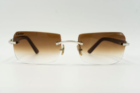 Cartier C Decor Vintage Sunglasses Plastic Brown Gradient Rectangle Lens Front