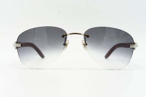 Cartier Rimless Woods 'Platinum' - Grey Gradient