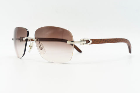 Cartier Rimless Woods 'Platinum' - Merlot Gradient