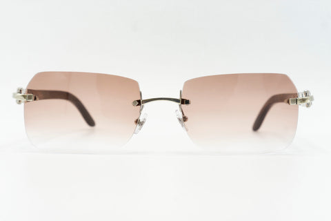 Cartier Rimless Woods 'Platinum' - Pink Gradient