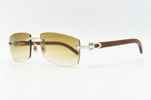 Cartier Rimless Woods 'Platinum' - Solid Green