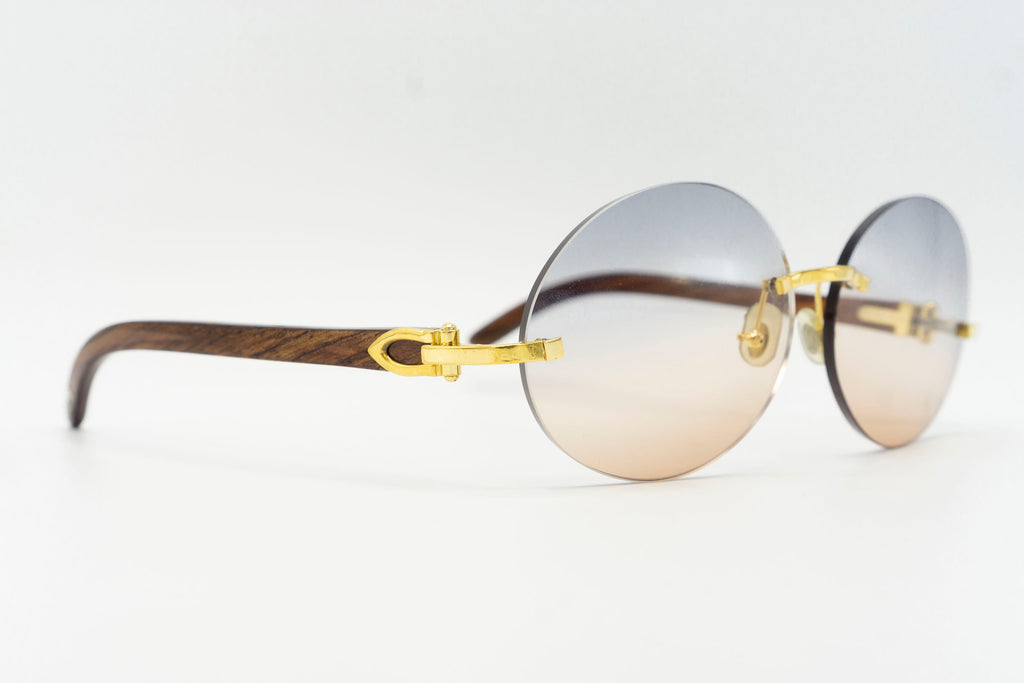 Cartier Rimless Woods - Blue & Cognac Gradient