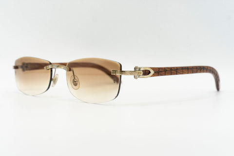 Cartier Rimless Woods (Gator) - Brown Gradient