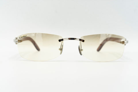 Cartier Rimless Woods (Gator) - Champagne