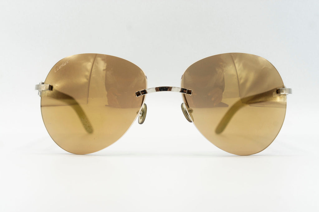 Cartier Rimless Woods (Gator) - Gold Flash