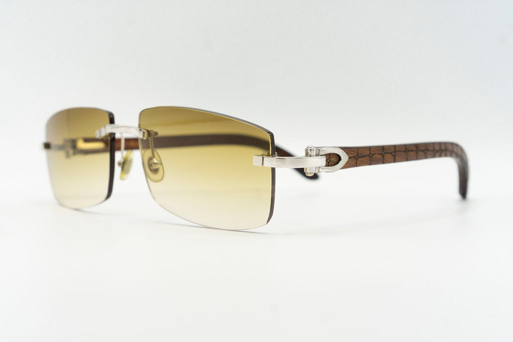 Cartier Rimless Woods (Gator) - Green Gradient