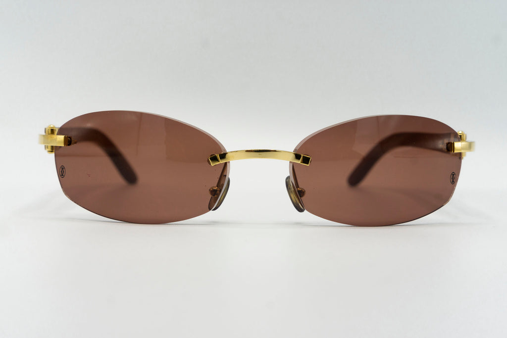 Cartier Rimless Woods (Gator) - Solid Brown