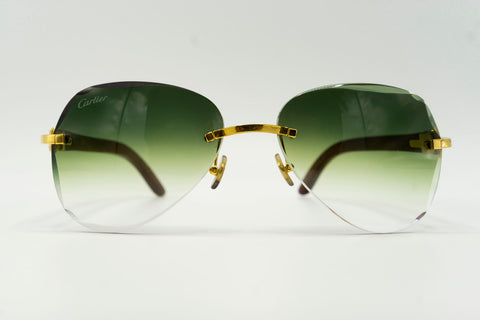 Cartier Rimless Woods - Green Gradient