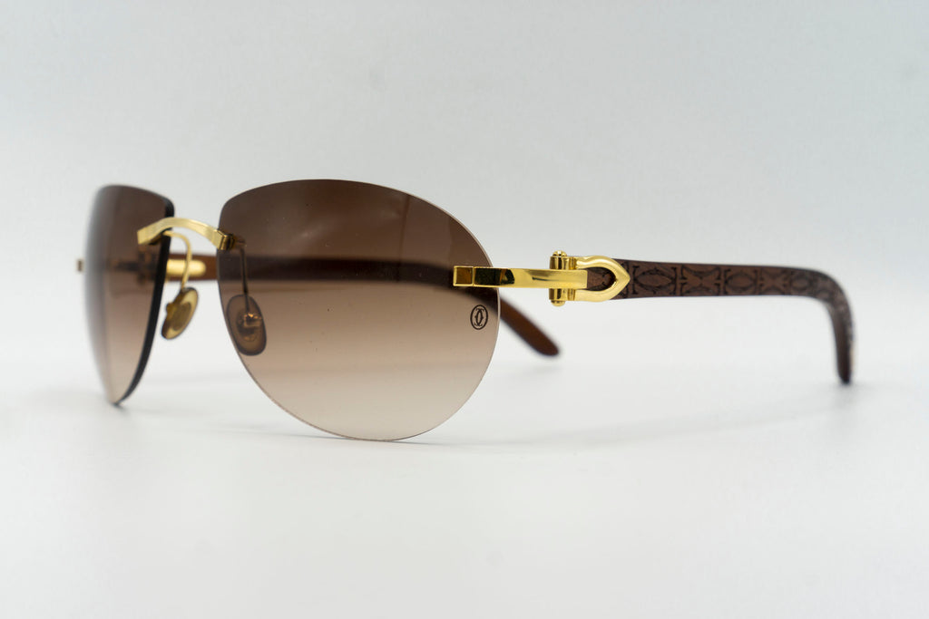 Cartier Rimless Woods (Logos) - Brown Gradient