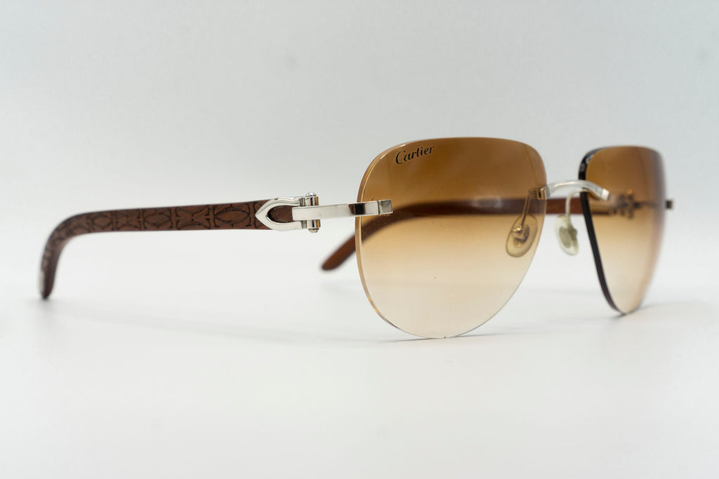 Cartier Rimless Woods (Logos) - Cognac Gradient