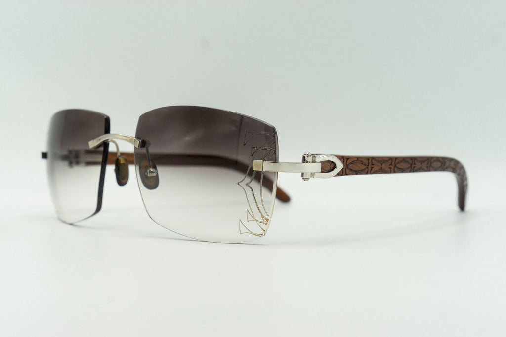 Cartier Rimless Woods (Logos) - Grey Gradient