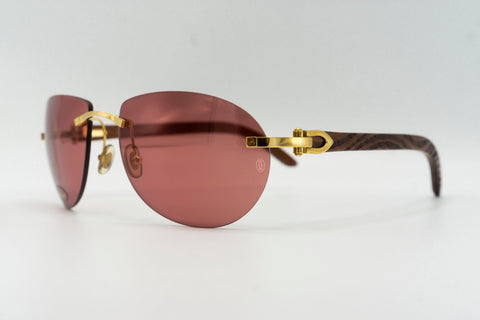 Cartier Rimless Woods (Zebras) - Red Flash