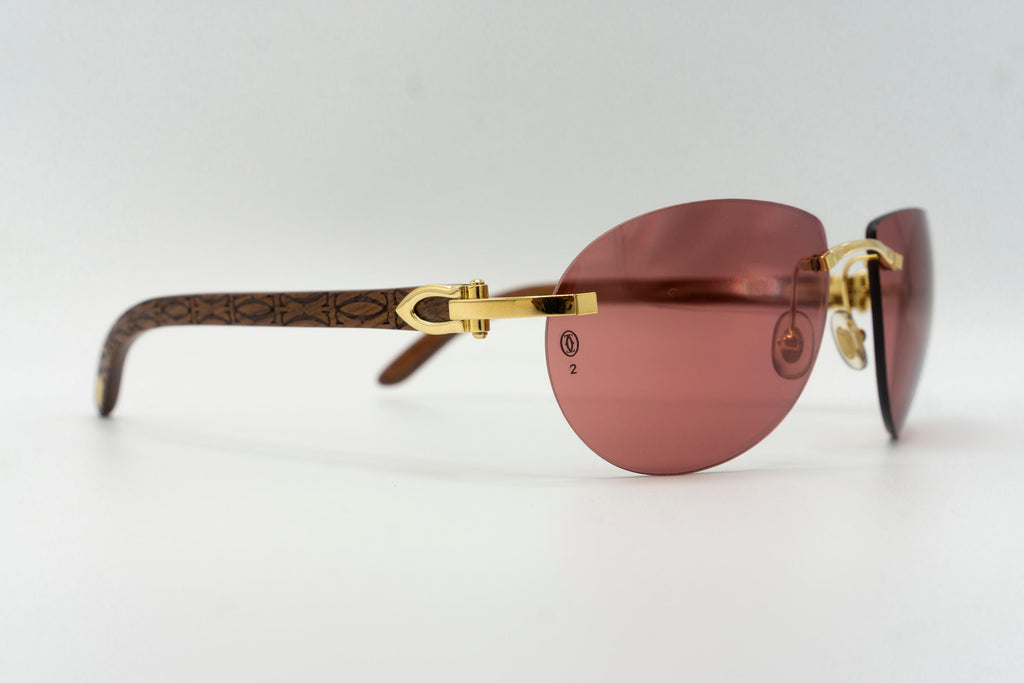 Cartier Rimless Woods (Logos) - Red Flash