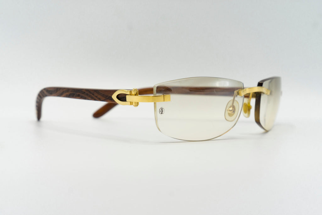 Cartier Rimless Woods (Zebra) - Light Grey Flash