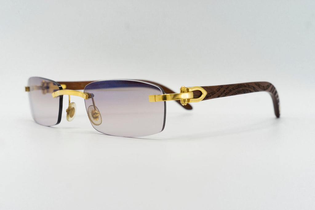 Cartier Rimless Woods (Zebra) - Merlot Flash