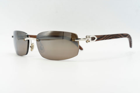 Cartier Rimless Woods (Zebra) - Brown Flash