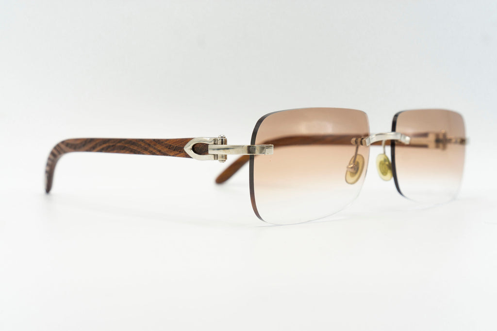 Cartier Rimless Woods (Zebra) - Tan Gradient
