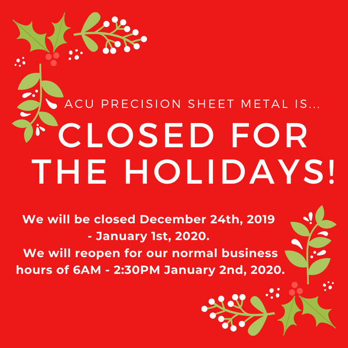 Closed December 24th, 2019 - January 1st, 2020