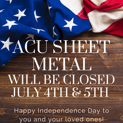 Will be closed July 4th - 5th...